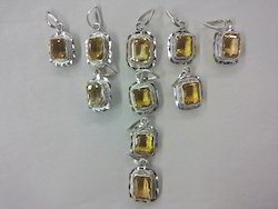 Square Cut Natural Citrin Topaz Silver Fancy Pendant