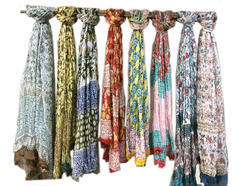 Hand Block Printed Chiffon Scarves