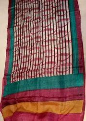 Block Printed Tussar Saree