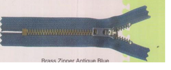Brass Zipper Antique Blue