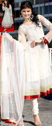 White Net Churidar Kameez With Dupatta
