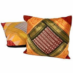 Brocade Multi -Color Striped Cushion Cover Pair