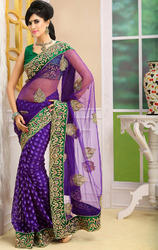 Purple+Color+Net+and+Jute+Silk+Saree+with+Blouse