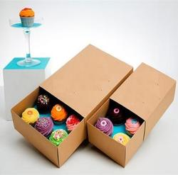 Kraft Paper Cup Cake Boxes With Inserts