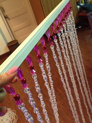 Acrylic Pink And White Beaded Curtain