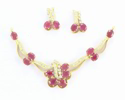 Ruby and Diamond Necklace Set in 14K Yellow Golg