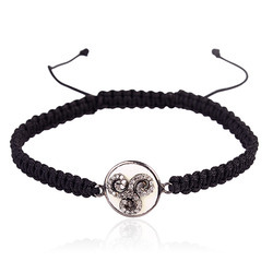 Sterling Silver Charm Macrame Bracelet