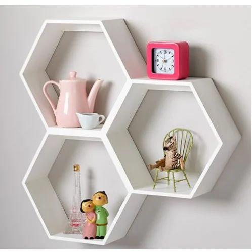 White Hexa Wall Shelf