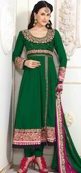 Green Faux Georgette Churidar Kameez with Dupatta