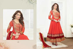 Orange Anarkali Partwear Salwar Kameez