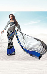Black+and+Grey+Color+Satin+Printed+Saree+with+Blouse