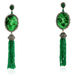 Carved Jade Gemstone Emerald Tassel Earring