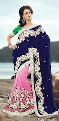 Half Net & Valvet Saree Pal-2200