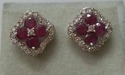 white gold studs with diamonds amp ruby