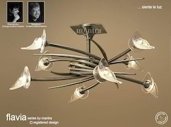 Flavia Semi Ceiling Up-Down 8 Light Round Antique Brass