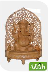 Vaah Carved Wooden Ganesha Idol with Cut Work