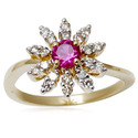 Ruby Ring And 14k White Gold Diamond