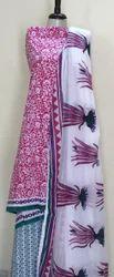 Hand Block Printed Ladies Dress Material Sets