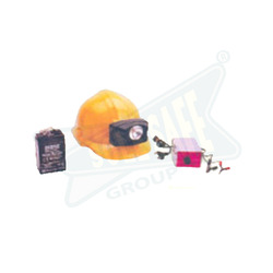 Helmet with Head Lamp and Rechargeable Battery
