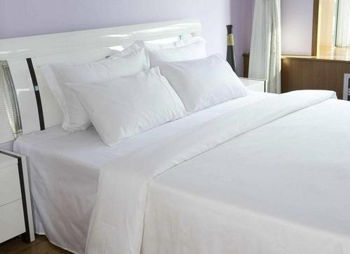 White Cotton Flat Bed Sheets In 300 TC