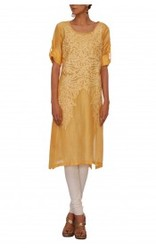 Yellow Kurta with Embroidery in the Front