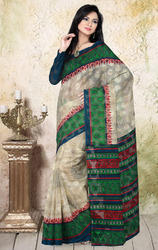Cream+and+Green+Color+Net+Jacquard+Printed+Saree+with+Blouse