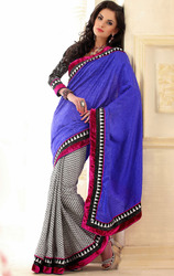 Blue+and+White+Color+Jacquard+and+Silk+Saree+with+Blouse