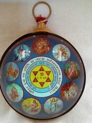 Hanging Navdurga Colorful Yantra Covered With Brass Patti