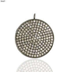 Pave Diamond Disc Charm Pendant