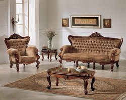 Tufted Wooden Sofa Set