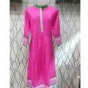 Short Sleeve Embroidered Pink Kurti