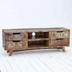 Vintage Style Colorful Reclaimed Wood Entertainment unit