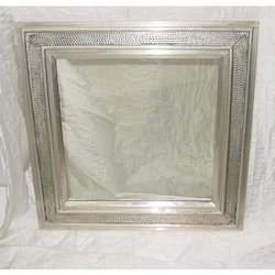 white metal cladding hammered mirror