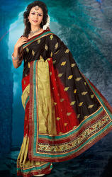 Black+Red+And+Cream+Color+Art+Dupion+Silk+Saree+with+Blouse