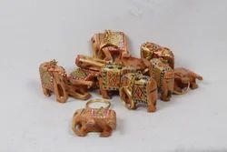 Wooden Painted Elephants Key Rings