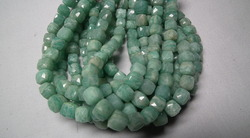 Amazonite Stone Faceted Cubes