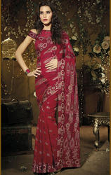 Dark+Maroon+Color+Faux+Georgette+Saree+with+Blouse