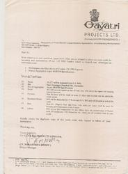 Contract With Gayatri Projects Ltd
