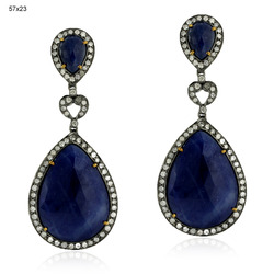 Designer Blue Sapphire Gemstones Earrings