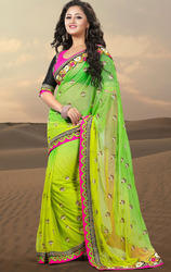 Aloe+Vera+Green+and+Lime+Green+Color+Net+Saree+with+Blouse