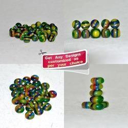 Green Multi-Layered Handmade Resin Beads