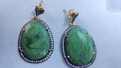 Green Color Stone Earring