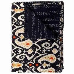 Black Ikat Kantha Quilt