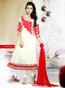 White and Red Semi Stitched Anarkali Suit