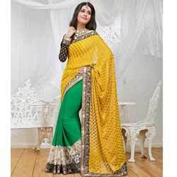 Golden Yellow & Green Brasso Saree