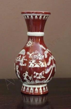 Warli Artifacts Warli On Flower Pot Manufacturer From Pune