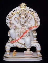 Marble Singhasan Ganpathi Statue