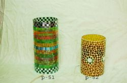 Mosaic Glass Round Candle Holders