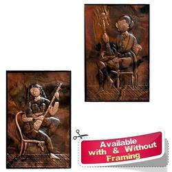 Couple Them on Copper Sheet - Copper Repousse Wall Mural