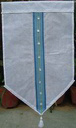 White Curtain With Blue Stripe